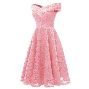 Off Shoulder Lace A Line Dress